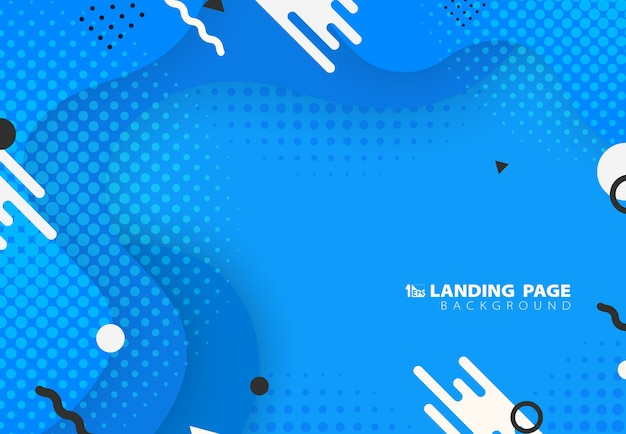 Abstract of gradient blue memphis fluid pattern design with geometric artwork background. Premium Vector