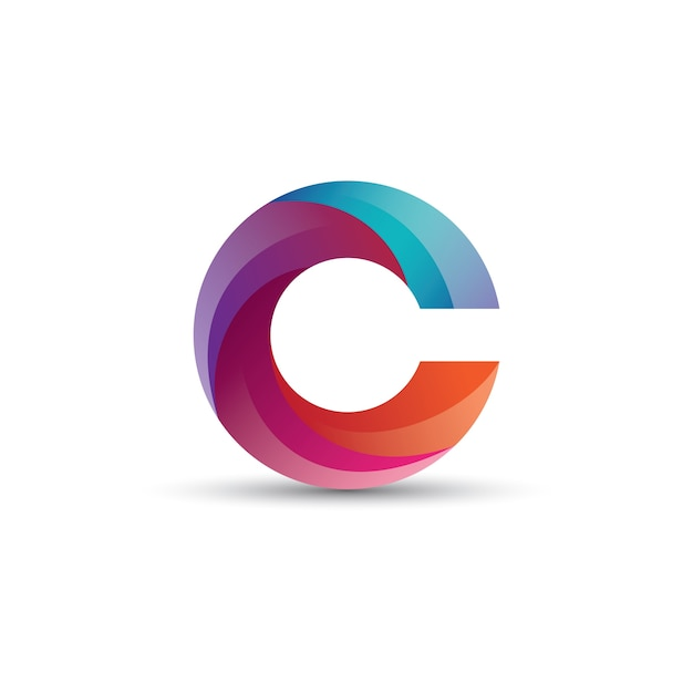 Abstract gradient c letter logo design with glossy effect ...