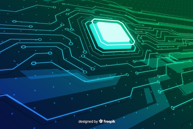 Abstract gradient circuit board background Free Vector