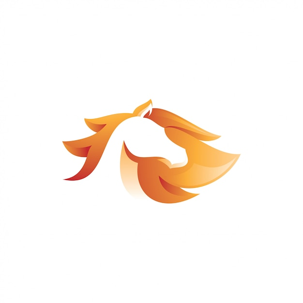 Abstract gradient color style of horse logo Premium Vector