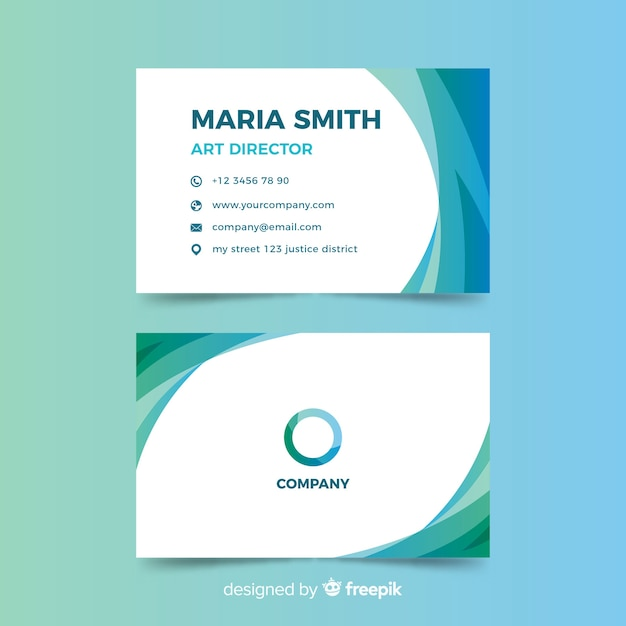 Abstract gradient colorful business card template Free Vector