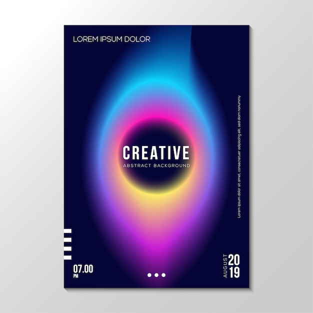 Abstract gradient fluid neon cover design template Premium Vector