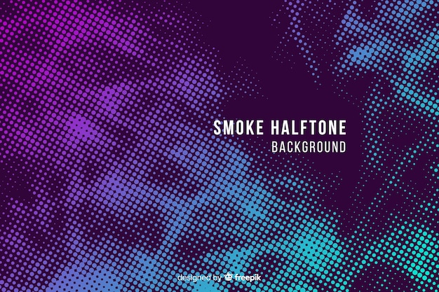 Abstract gradient halftone smoke background Free Vector