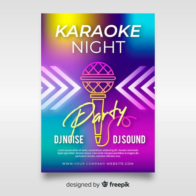 Abstract gradient karaoke poster template Free Vector