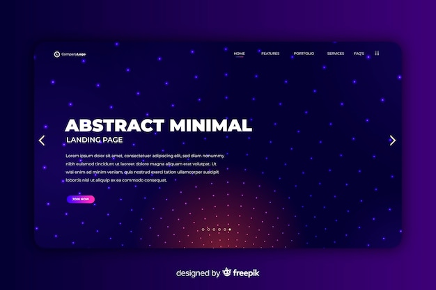 Abstract gradient landing page template Free Vector