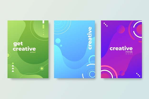 Abstract gradient models cover collection Free Vector