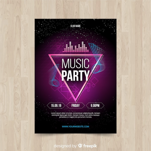 Abstract gradient music poster template Free Vector