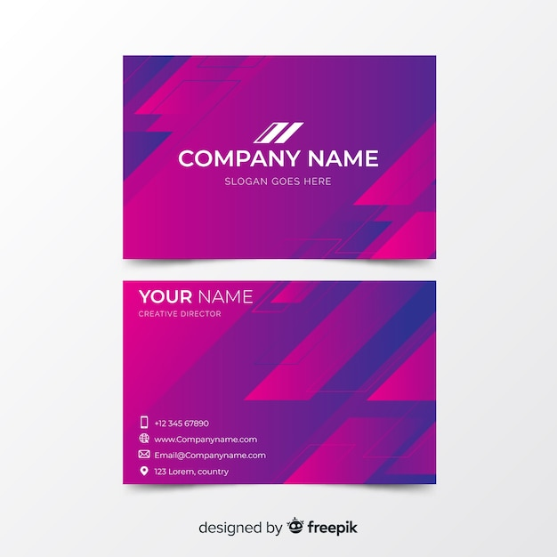 Abstract gradient shapes business card Free Vector