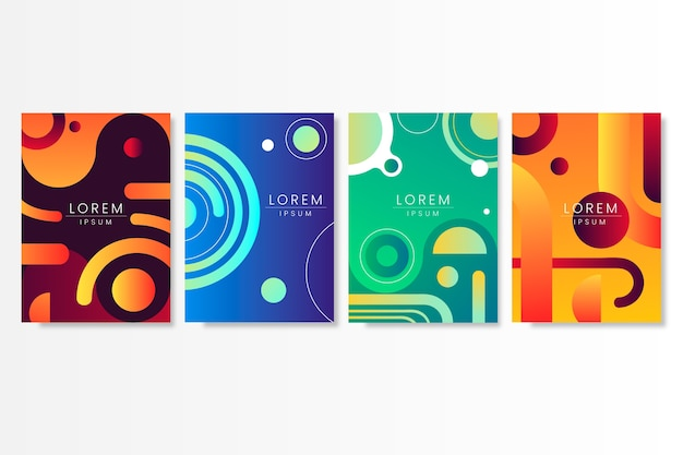 Abstract gradient shapes cover collection design Free Vector