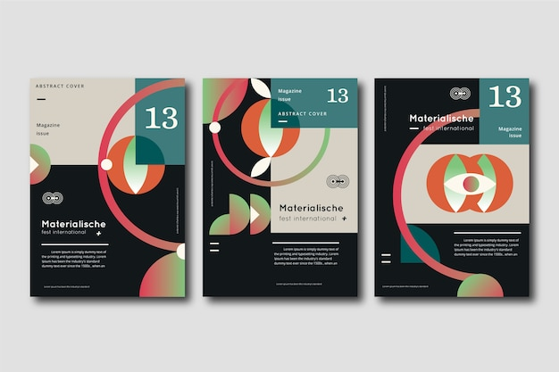 Abstract gradient shapes cover collection Free Vector