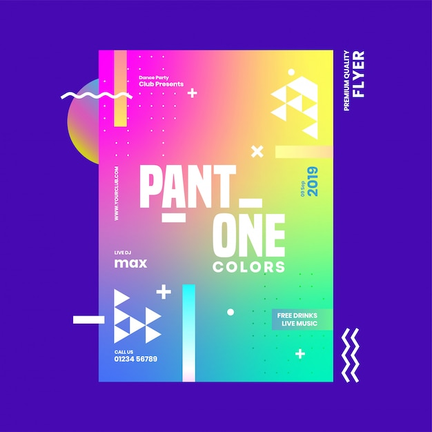 Abstract gradient template or flyer design with venue details for pant one colors. Premium Vector