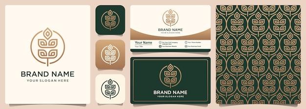 Абстрактные зерна или пшеницы вектор значок логотип, узор и дизайн визитной карточки Premium векторы