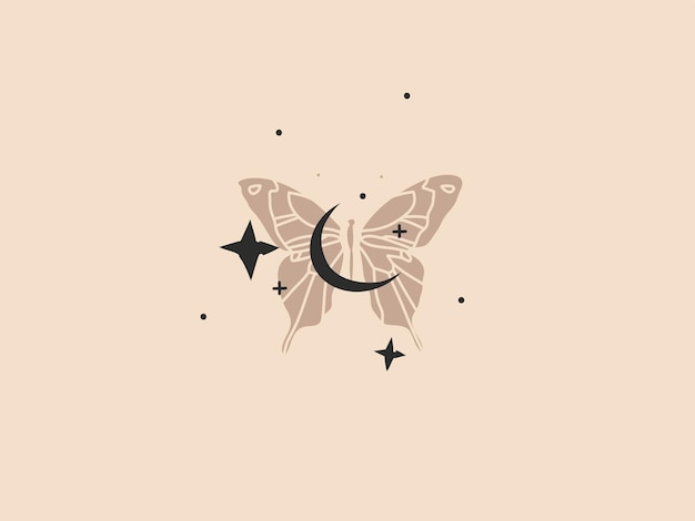 Abstract graphic illustration with logo element, bohemian art of gold crescent moon, butterfly