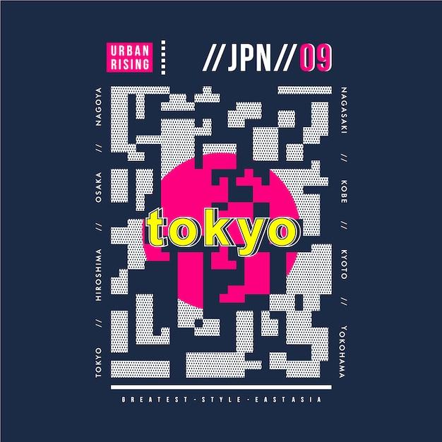 Abstract graphic tokyo japan typography design Premium Vector