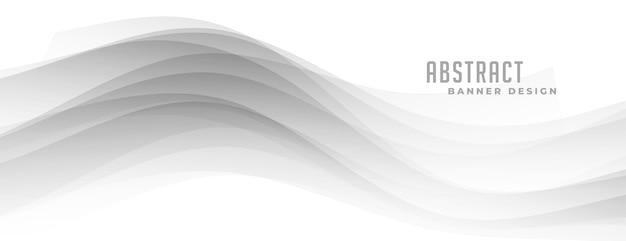 Forma ondulata grigia astratta sulla bandiera bianca Vettore gratuito