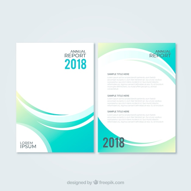 Abstract green annual report cover template Free Vector
