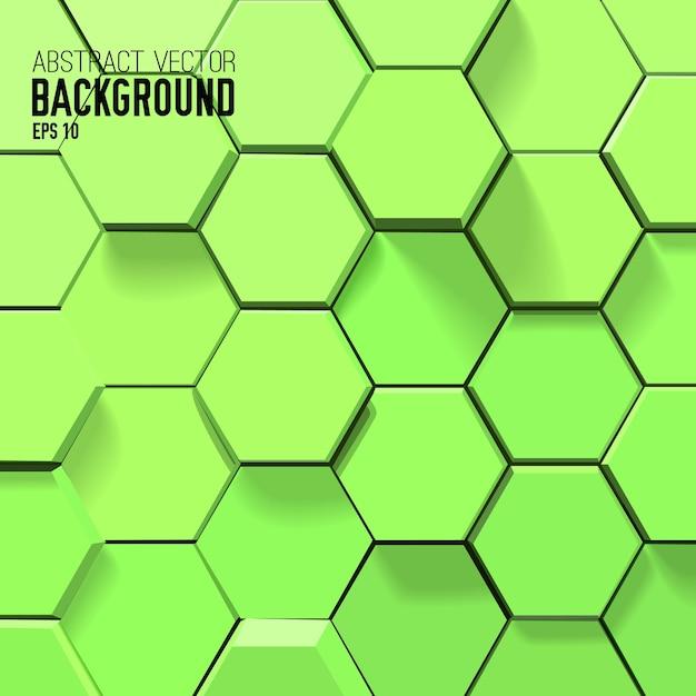 Абстрактный зеленый фон с геометрическими шестиугольниками Бесплатные векторы