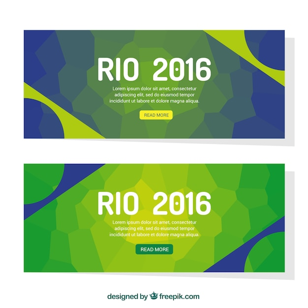 Abstract green banners of brazil 2016
