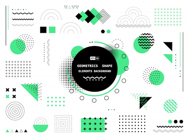 Abstract green and black geometric shapes background Premium Vector