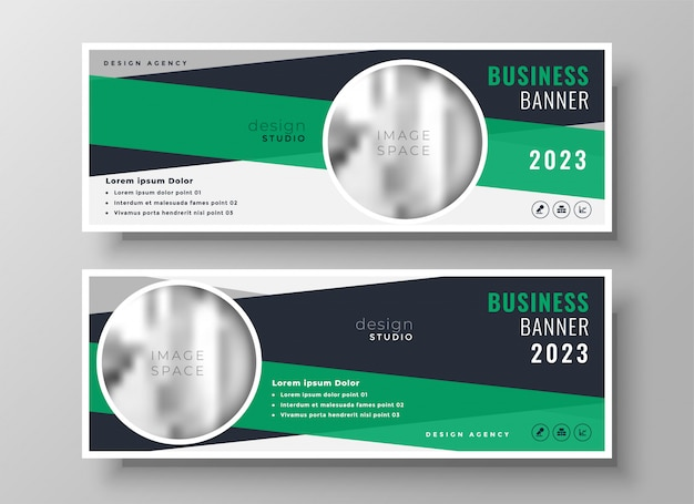 Abstract green business banner design template Free Vector