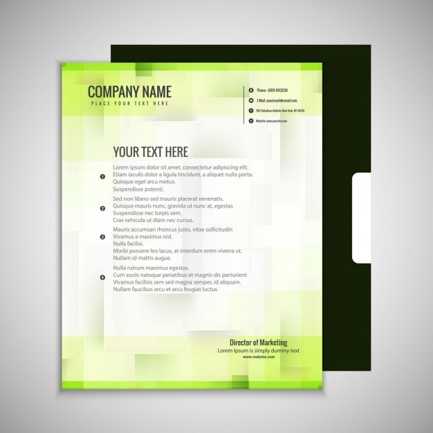 Abstract green business brochure Free Vector