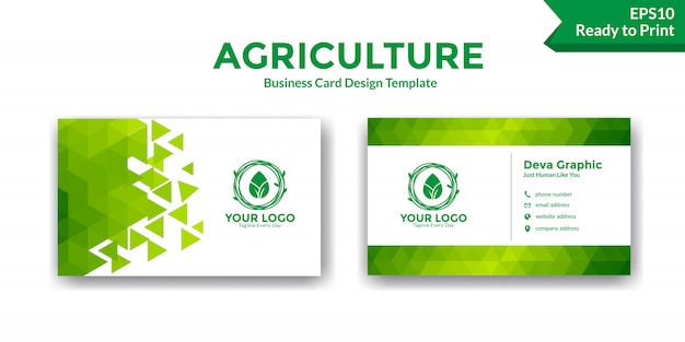 Abstract green business card design template Premium Vector