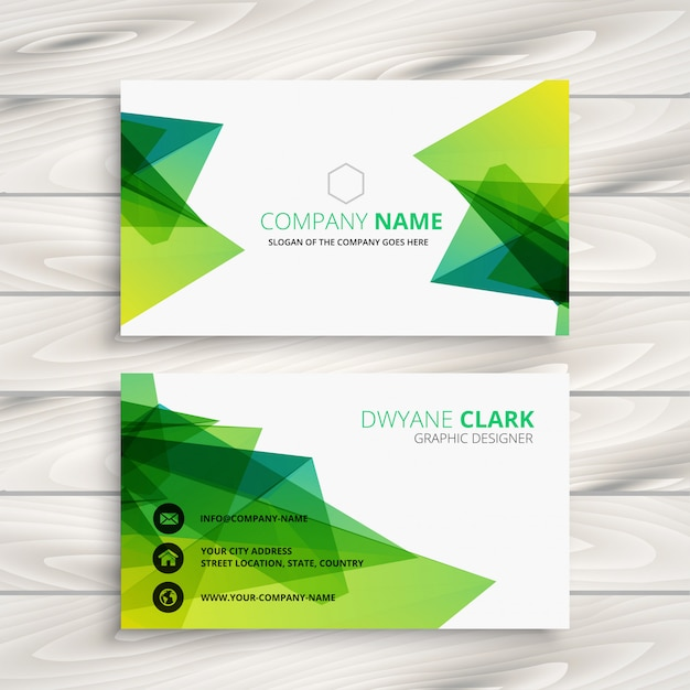 Abstract Green Business Card Design Free Vector