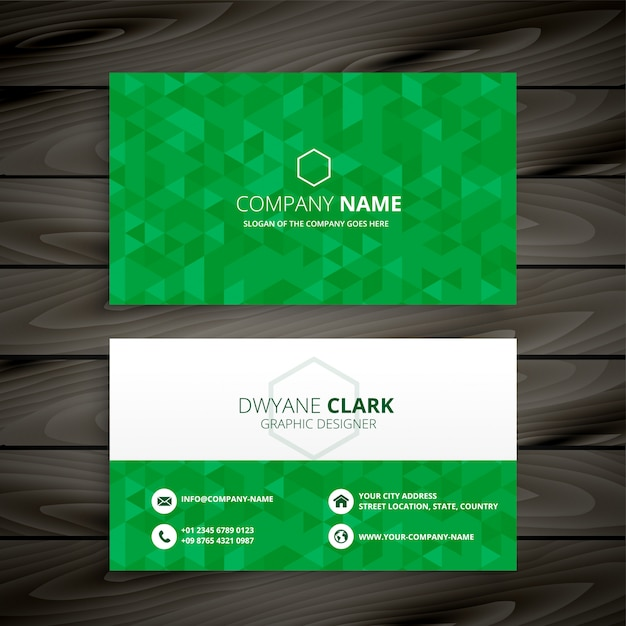 Abstract Green Business Card Design Vector Free Download