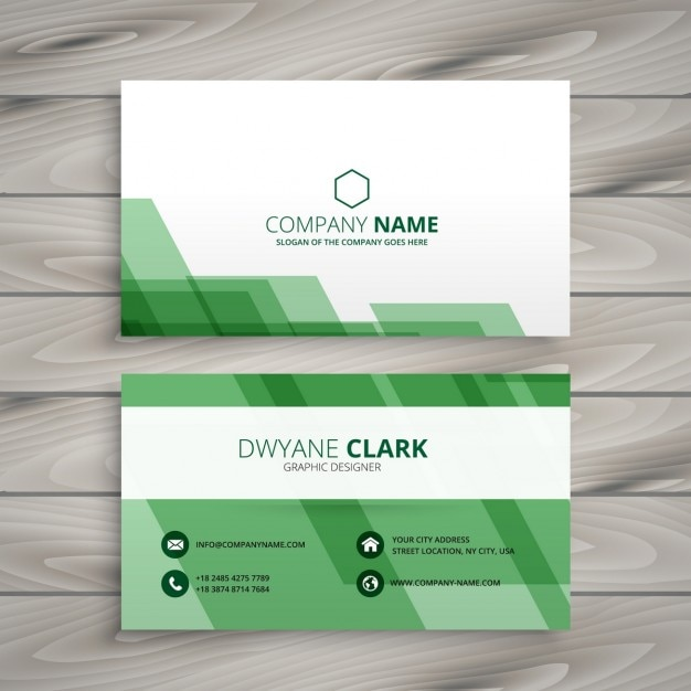 Abstract Green Business Card Vector Free Download
