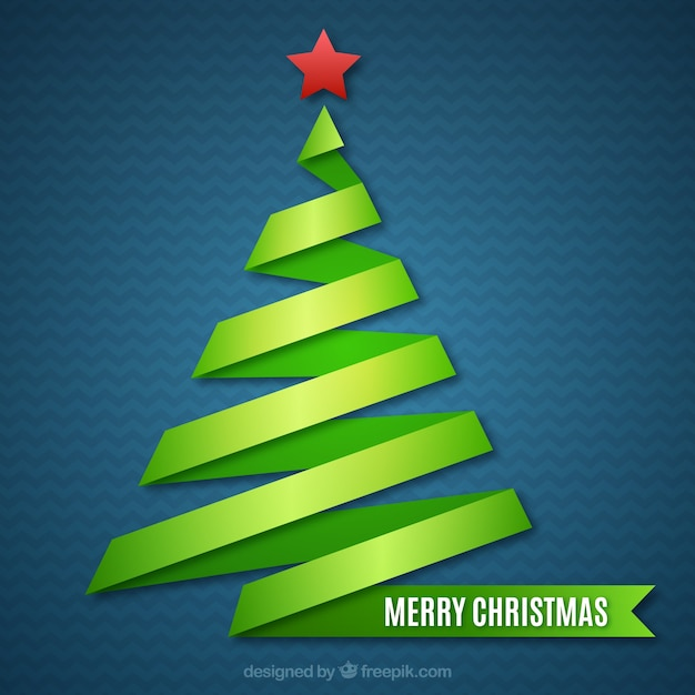 abstract green christmas tree card free vector - Christmas Tree Card