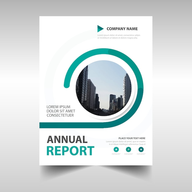 Abstract green circular annual report template Vector – Free Annual Report Templates
