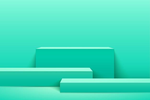 제품에 대 한 추상 녹색 큐브 표시입니다. 3d 렌더링 기하학적 모양 파스텔 색상입니다. 프리미엄 벡터