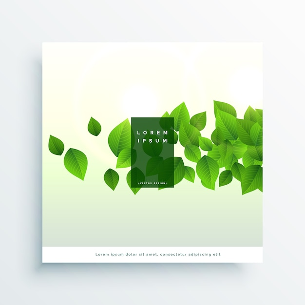 Abstract green flying leaves background Free Vector