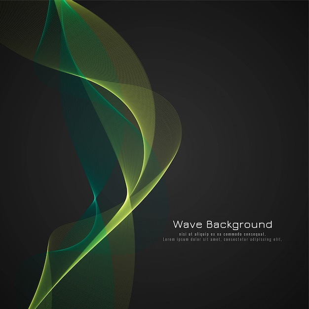 Abstract green glossy wave background Free Vector