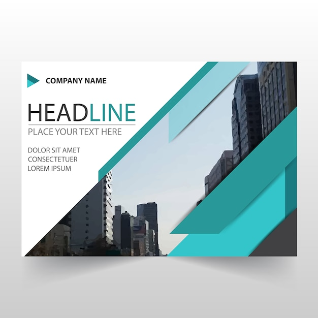 Abstract Green Horizontal Business Flyer Template Vector Free - Horizontal brochure template