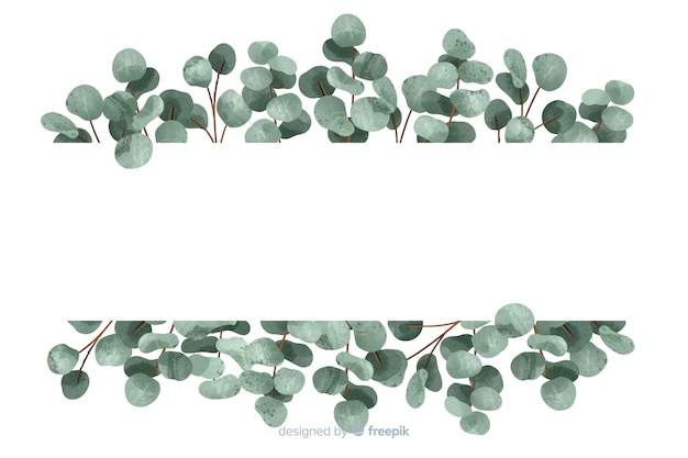 Abstract green leaves background with copy space Free Vector