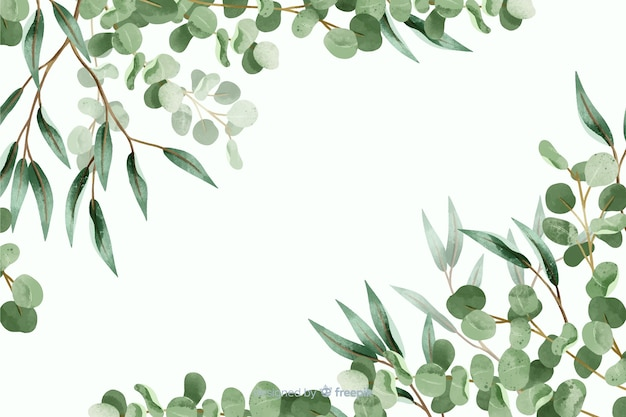 Abstract green leaves frame with copy space Free Vector