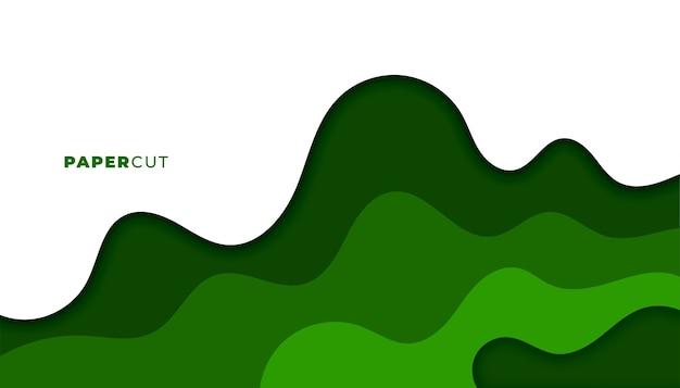 Progettazione verde astratta del fondo di stile del papercut Vettore gratuito