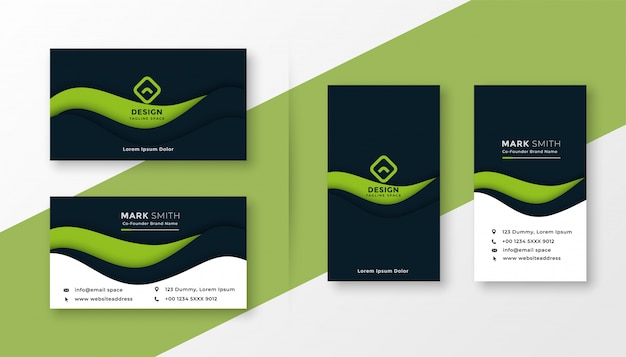 Abstract green professional business card Free Vector