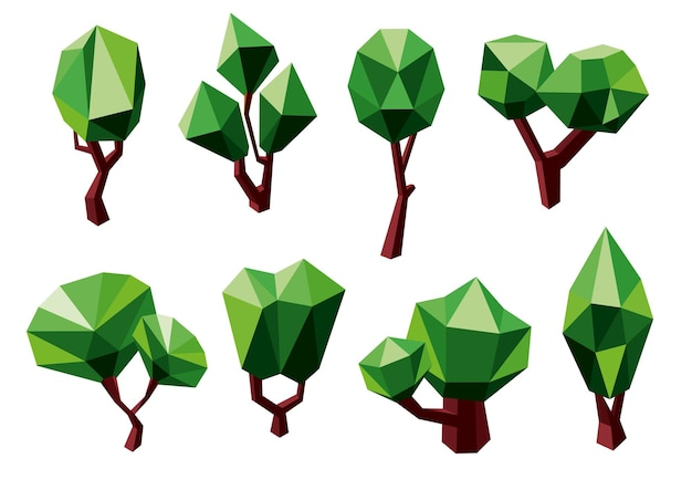 Abstract green trees icons in polygonal style, isolated on white. for ecology or nature themes design Premium Vector