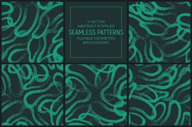 Набор абстрактных зеленых бирюзовых пунктирных повторяющихся бесшовные шаблоны Premium векторы