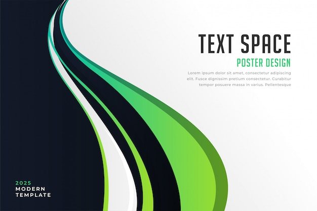 Abstract green wave background presentation Free Vector