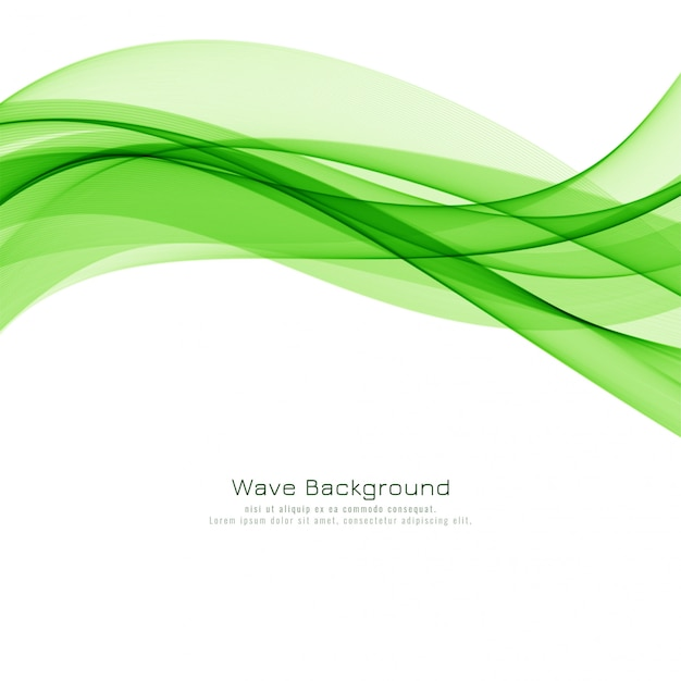 Abstract green wave modern background design Free Vector