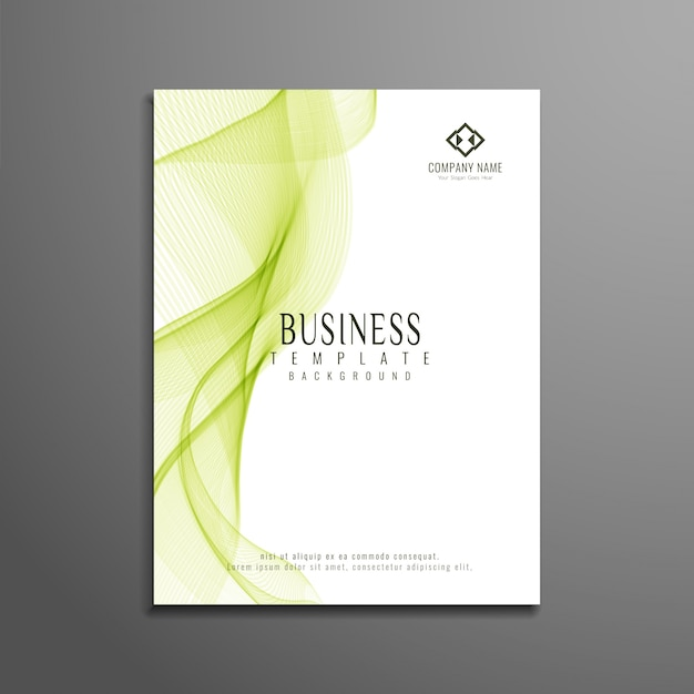 Abstract green wavy business brochure design
