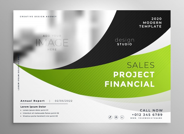 Abstract green wavy style business brochure design Free Vector