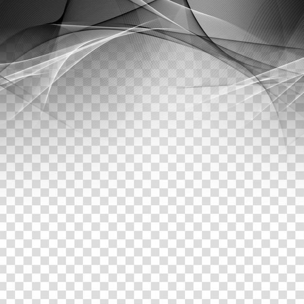 Abstract grey wave elegant transparent background Free Vector