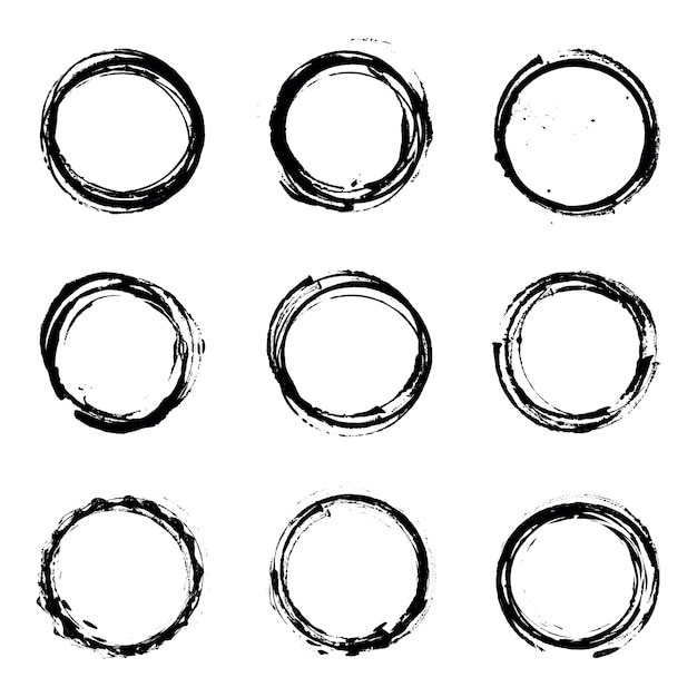 Abstract grunge circle vector set Premium Vector