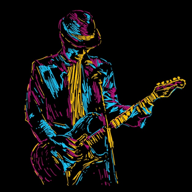 Abstract guitar player vector illustration music poster Premium Vector