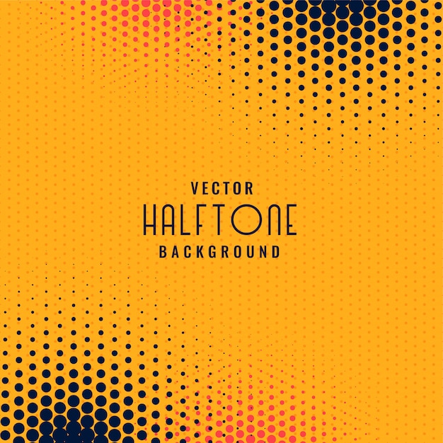 Abstract halftone dots yellow background Free Vector
