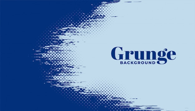 Abstract halftone grunge background in blue color Free Vector
